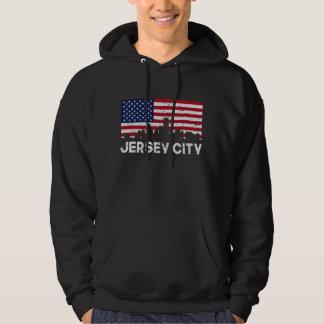 Jersey City NJ American Flag Skyline Distressed Hoodie