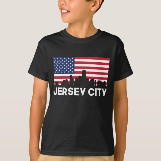 Jersey City NJ American Flag Skyline T-Shirt