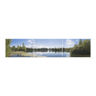 Jersey City Reservoir South View Triptych Canvas Print