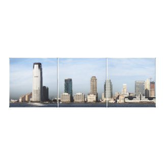 Jersey City Skyline Panoramic Triptych Canvas Print
