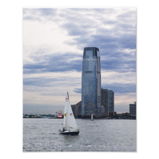 Jersey City Waterfront with Sailboats Photographic Print