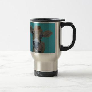Jersey Cow licking her nose Travel Mug