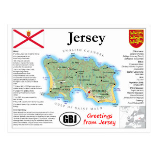 Jersey Map Postcard