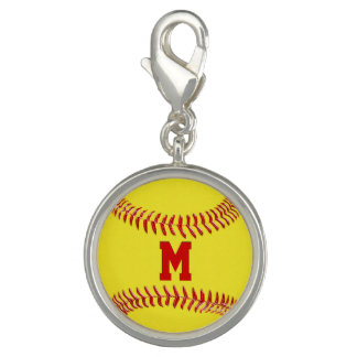 Jersey Number or Monogram Softball Charms