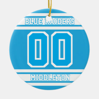 Jersey Sport Style | DIY Text | Baby Blue 2 Ceramic Ornament