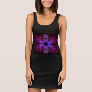 Jersey Tank Dress - Geometric Black and Pink Print