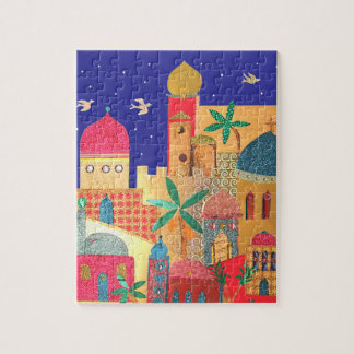 Jerusalem City Colorful Art Jigsaw Puzzle