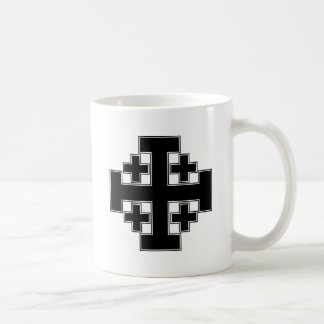 Jerusalem Cross Black Coffee Mug