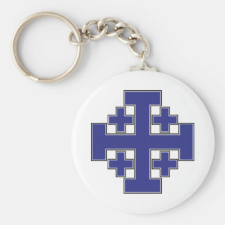 Jerusalem Cross Blue Key Ring