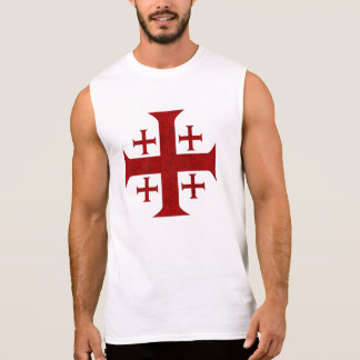 Jerusalem Cross, Distressed Sleeveless Shirt