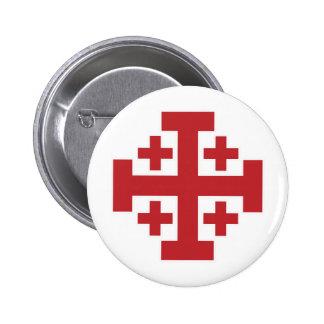 Jerusalem Cross simple red 6 Cm Round Badge