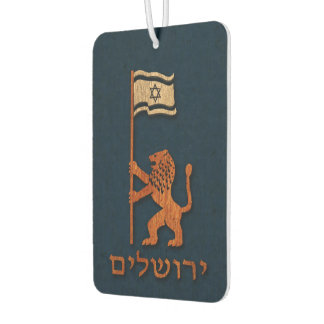 Jerusalem Day Lion With Flag Car Air Freshener