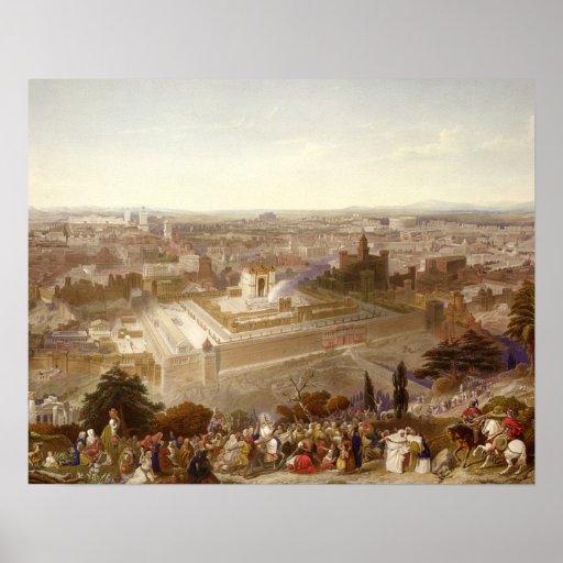 Jerusalem in her Grandeur, engraved by Charles Mot Print