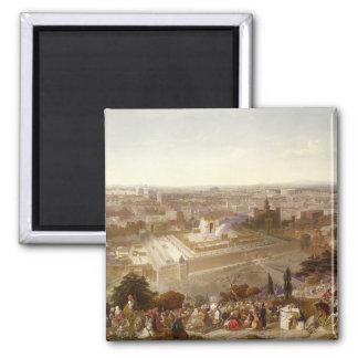 Jerusalem in her Grandeur, engraved by Charles Mot Square Magnet