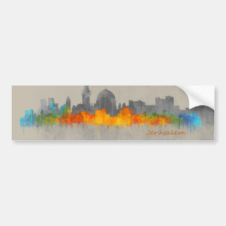 Jerusalem Israel City Skyline B/W - Color design Bumper Sticker