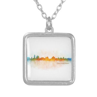 Jerusalem Israel City Skyline Silver Plated Necklace