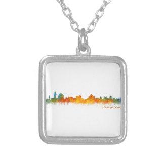 Jerusalem Israel City Skyline v2 Silver Plated Necklace