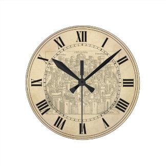 Jerusalem, Medieval Woodcut Round Clock