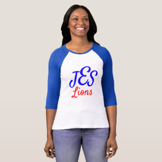 JES Lions Women's Monogram Blue Baseball Tee