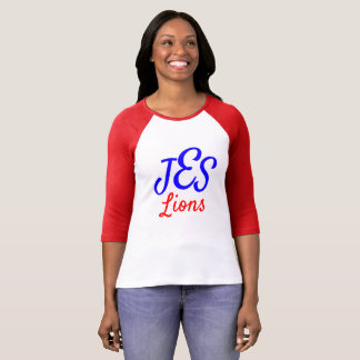 JES Lions Women's Monogram Red Baseball Tee