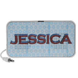 Jessica 3D text graphic over light blue lace Speakers