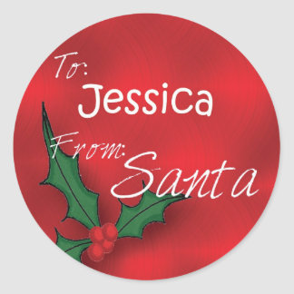 Jessica Personalized Holly Gift Tags From Santa
