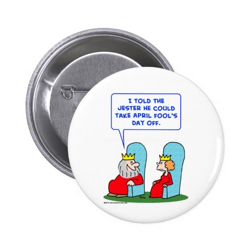 jester april fools day off king pinback button