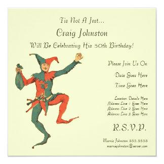 Jester Birthday Party 13 Cm X 13 Cm Square Invitation Card