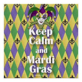 Jester Mask Keep Calm and Mardi Gras Poster