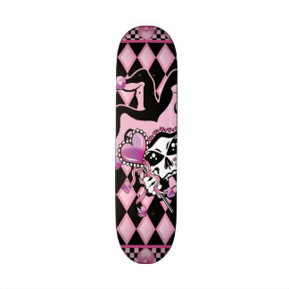 Jester of Hearts Skull Custom Skate Board