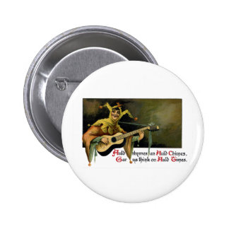 Jester Playing Guitar Vintage New Year s Day Pinback Button