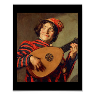 Jester with a Lute Poster Canvas Print