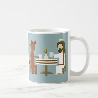 Jesus And Devil Having Coffee Pixel Art Mug