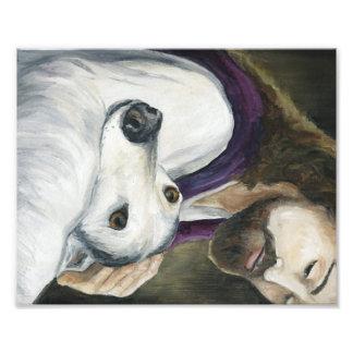 Jesus and Greyhound Dog Art Print