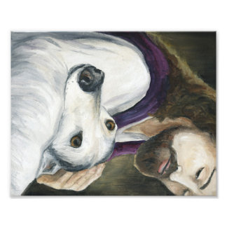 Jesus and Greyhound Dog Art Print Photo