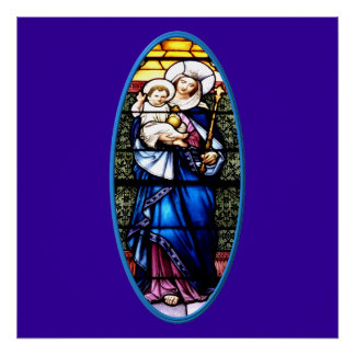 Jesus and Mary stained glass window Posters
