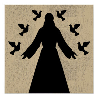 Jesus and the Doves Silhouette Poster
