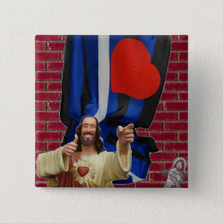 Jesus and the Leather Flag 15 Cm Square Badge