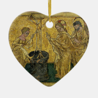 Jesus and the Samaritan Woman at the Well Ceramic Heart Decoration