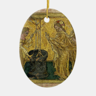 Jesus and the Samaritan Woman at the Well Ceramic Oval Decoration