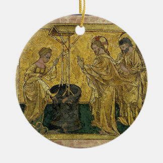 Jesus and the Samaritan Woman at the Well Round Ceramic Decoration