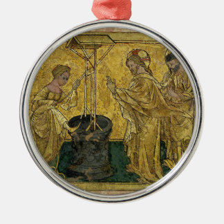 Jesus and the Samaritan Woman at the Well Silver-Colored Round Decoration