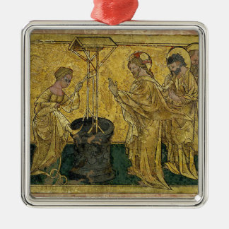 Jesus and the Samaritan Woman at the Well Silver-Colored Square Decoration