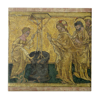 Jesus and the Samaritan Woman at the Well Small Square Tile