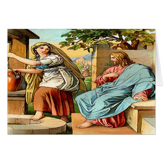 jesus and women at the well Greeting card