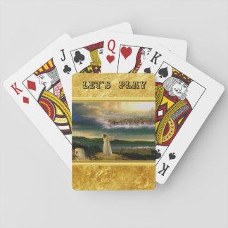 Jesus at Heaven's Gate Gold Texture Design Playing Cards