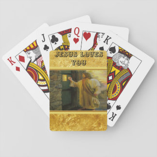 Jesus At Your Door with a gold foil design Playing Cards
