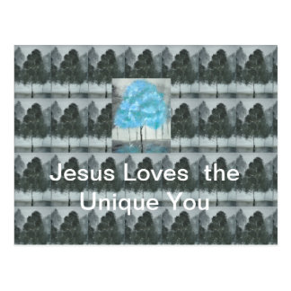 Jesus Blue tree acrylic postcard