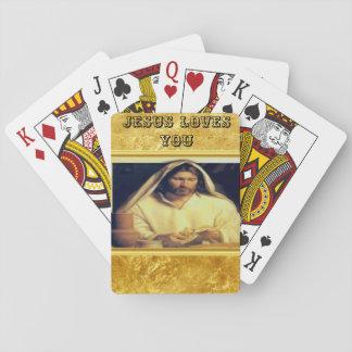Jesus Breaking Bread Gold And Black texture Playing Cards