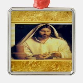 Jesus breaking bread matthew 14-13 Gold texture Metal Ornament